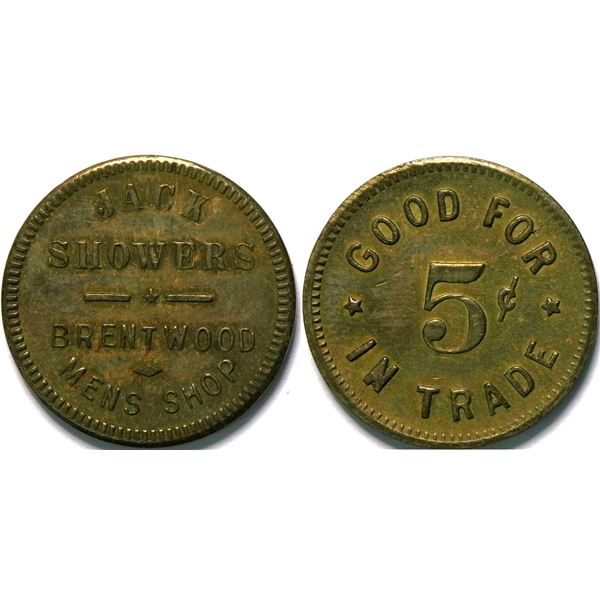 Jack Showers, Brentwood Heights, Cal Token  [135472]