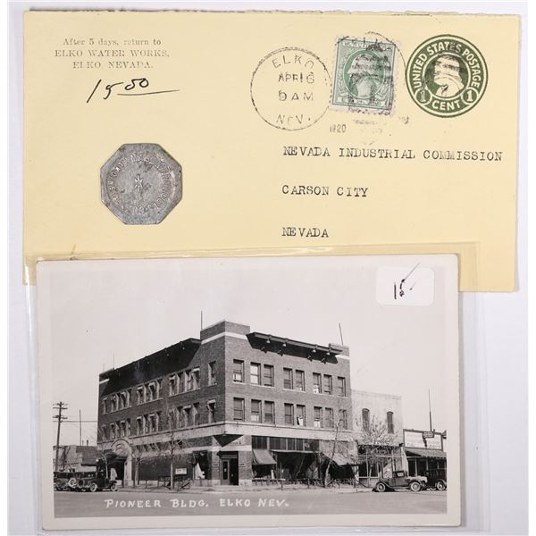 Elko Real Photo Postcard, Token and Postal Cover  [129322]