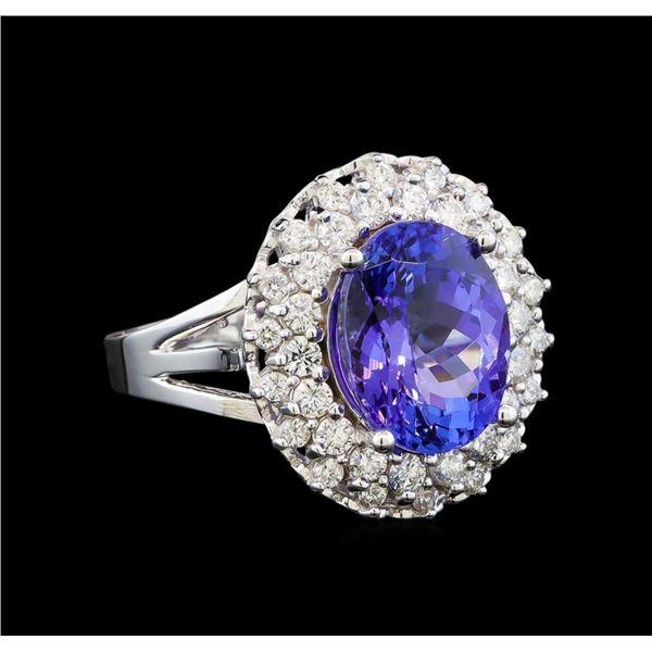 14KT White Gold 6.40 ctw Tanzanite and Diamond Ring