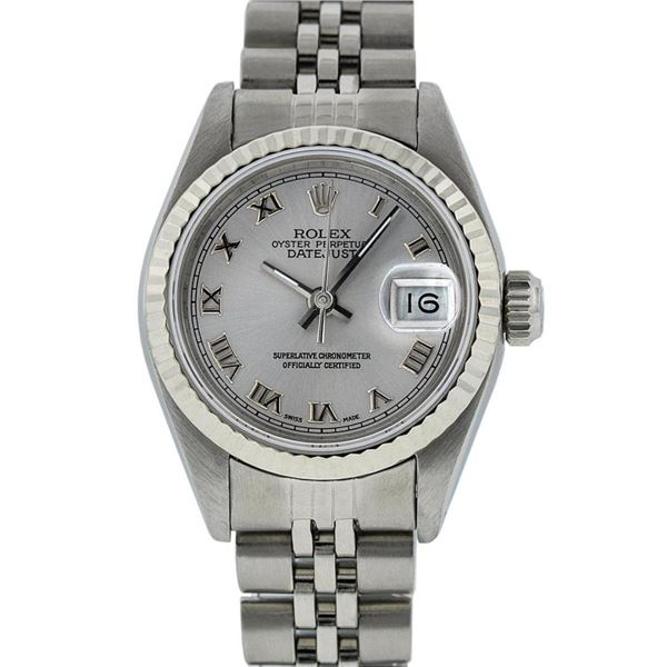 Rolex Ladies Stainless Steel Silver Roman 26MM Oyster Perpetual Datejust Wristwa