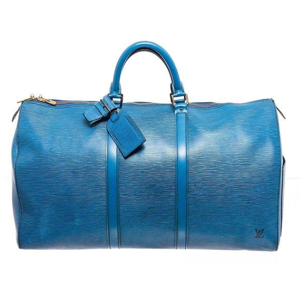 Louis Vuitton Blue Epi Leather Keepall 55 cm Duffle Bag Luggage