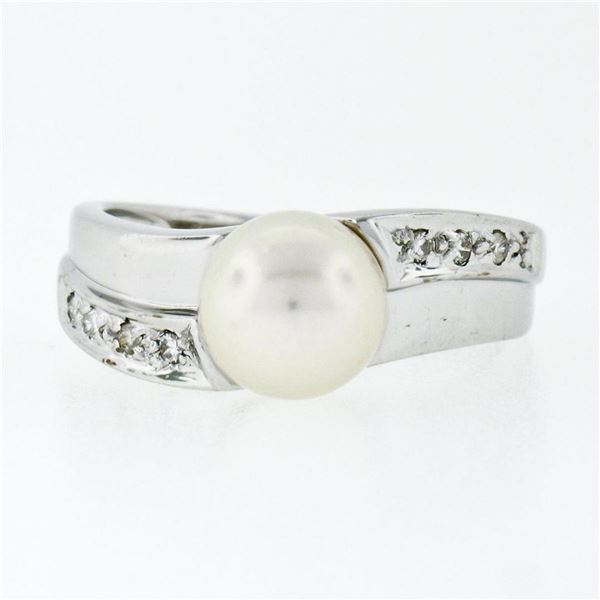 Estate 14k White Gold 7.65mm Akoya Pearl Solitaire & Pave Set Diamond Band Ring