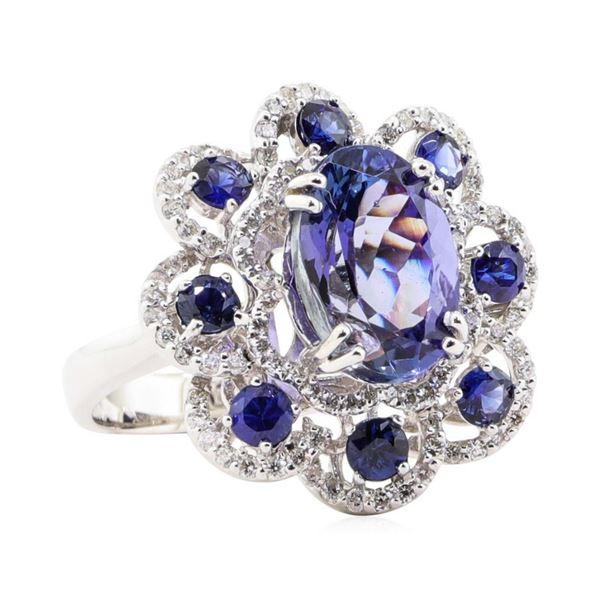 5.95 ctw Tanzanite, Sapphire, and Diamond Ring - 14KT White Gold