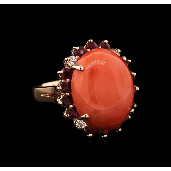 14KT Rose Gold 13.08 ctw Pink Coral, Ruby and Diamond Ring