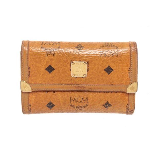 MCM Cognac Canvas Flap Wallet