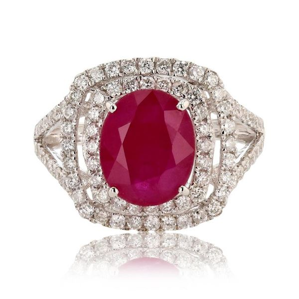 3.21 ctw Ruby and 0.85 ctw Diamond 14K White Gold Ring