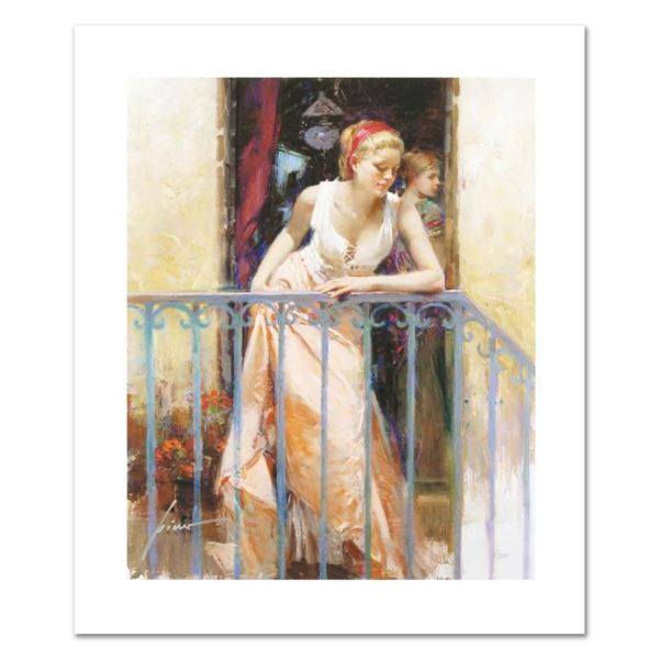 """Pino (1931-2010), """"At the Balcony"""" Limited Edition on Canvas, Numbered and Hand"""