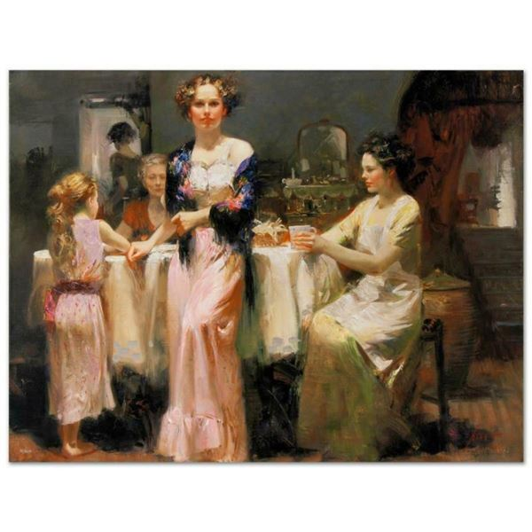 """Pino (1939-2010), """"The Gathering"""" Artist Embellished Limited Edition on Canvas ("""