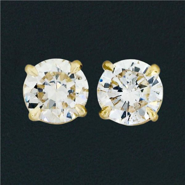 14k Yellow Gold 1.11 ctw Round Brilliant Cut Diamond Claw Prong Stud Earrings