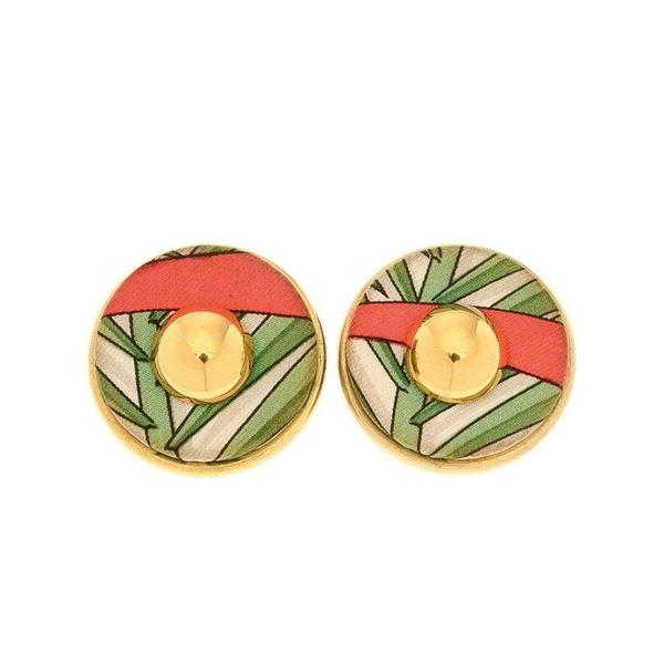 Hermes Gold Silk Clip-on Earrings