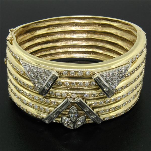 "14k Two Tone Gold Ribbed 6.25"" 12 ctw Diamond Wide Bangle Cuff Bracelet"