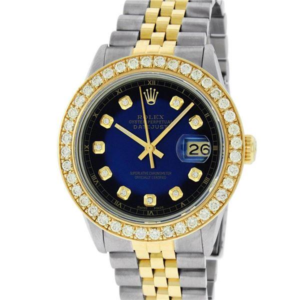 Rolex Mens 2 Tone 18K Blue Vignette 1.9 ctw Diamond Datejust Wristwatch 36MM