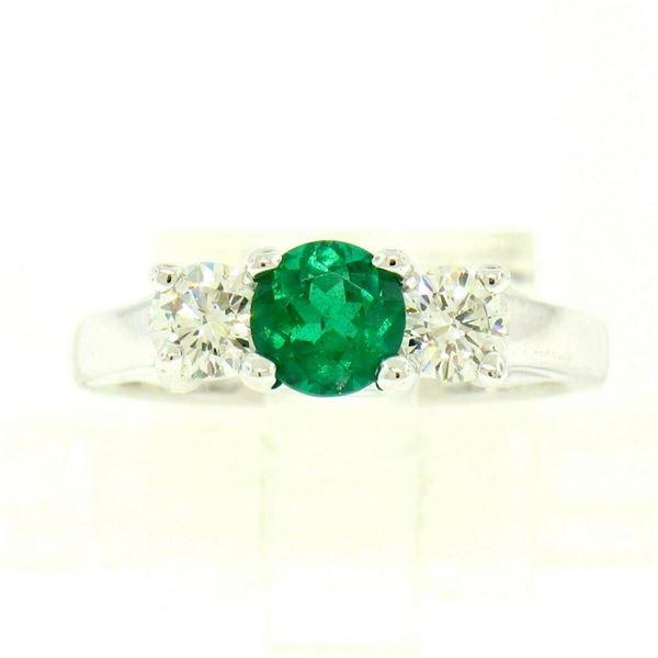 14k White Gold GIA Emerald & Diamond 3 Stone 1.50 ctw Engagement Right Hand Ring