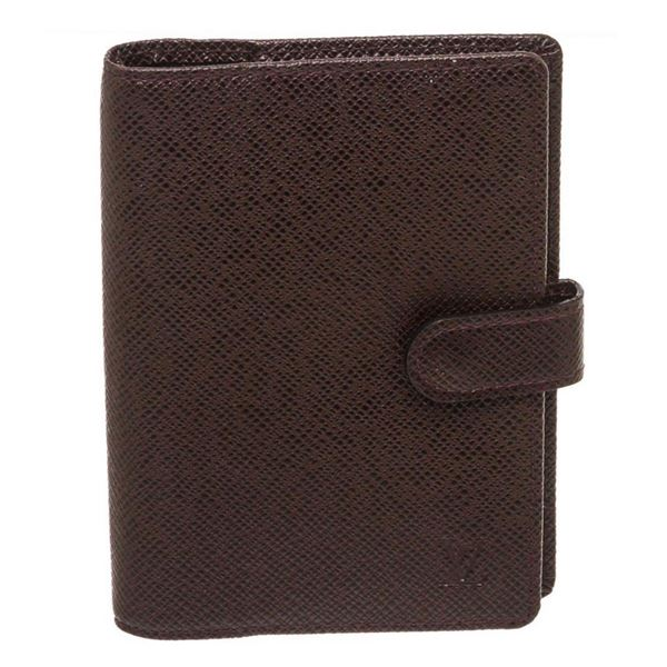 Louis Vuitton Burgundy Taiga Leather Small Ring Agenda Cover