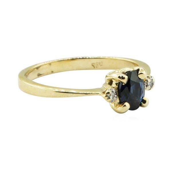0.69 ctw Blue Sapphire and Diamond Ring - 14KT Yellow Gold