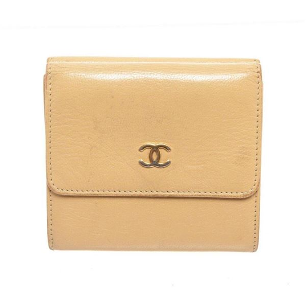 Chanel Beige Compact Trifold Wallet