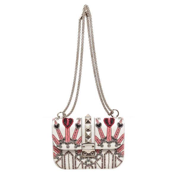 Valentino White Pink Love Blade Beaded Glam Lock Flap Bag