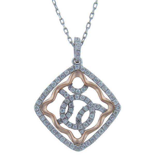 14k White/rose Gold 0.44CTW Diamond Pendant, (SI3/G)