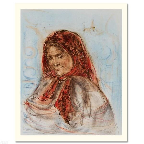 """""""Swiss Woman"""" Limited Edition Lithograph by Edna Hibel (1917-2014), Numbered and"""
