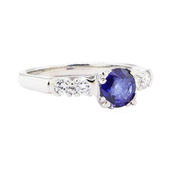 1.13 ctw Sapphire And Diamond Ring - 18KT White Gold