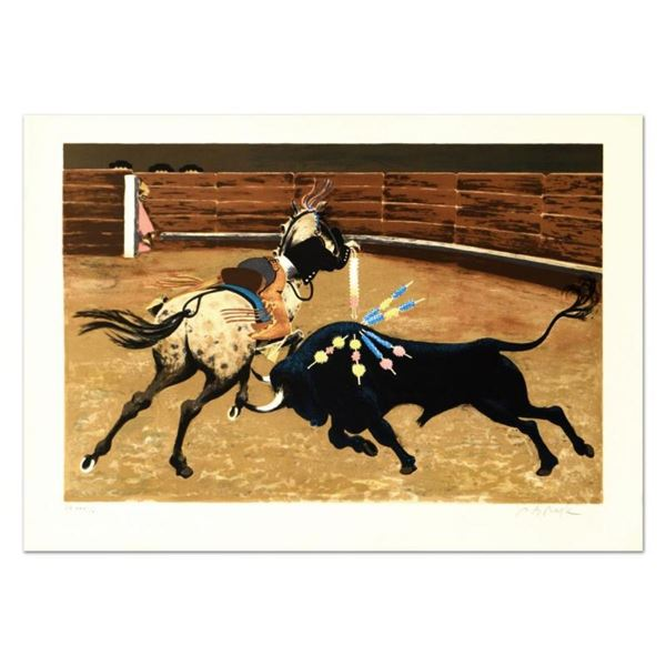"""Pierre Charles Bayle, """"Bull Ring"""" Limited Edition Lithograph, Numbered and Hand"""