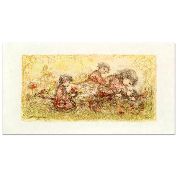 """""""Natures Caress"""" Limited Edition Lithograph by Edna Hibel (1917-2014), Numbered"""