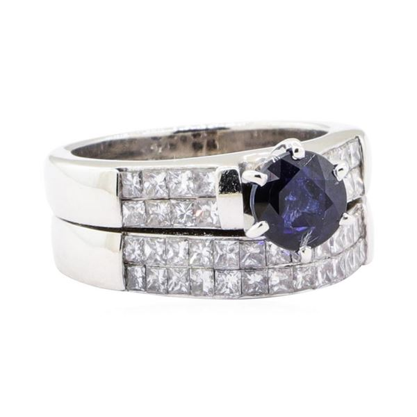 2.49 ctw Sapphire And Diamond Ring And Attached Band - 18KT White Gold