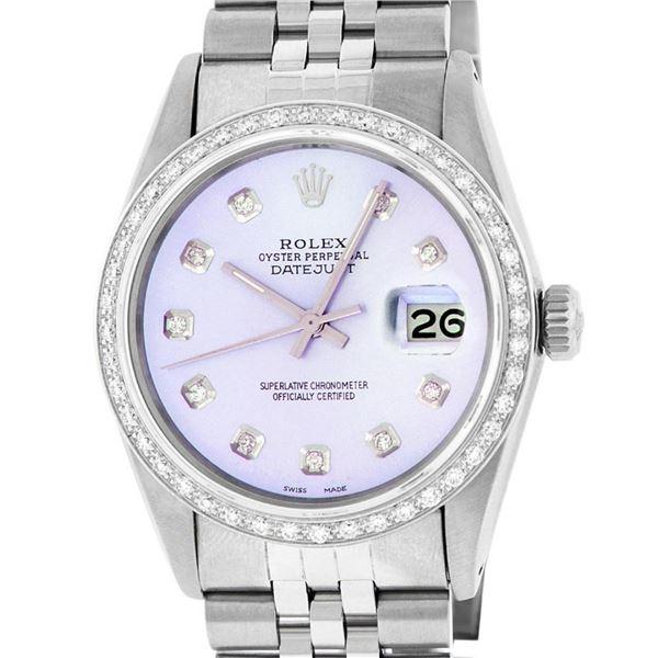 Rolex Mens Stainless Steel Purple Diamond 36MM Datejust Wristwatch Serviced Poli