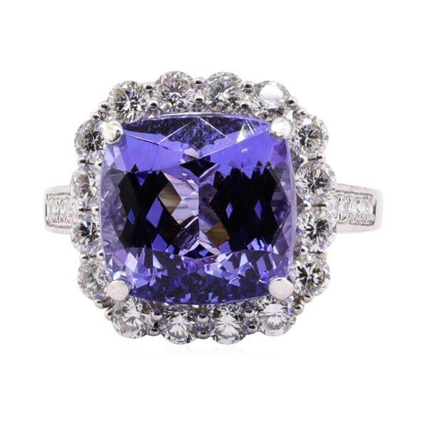 9.18 ctw Tanzanite and Diamond Ring - Platinum