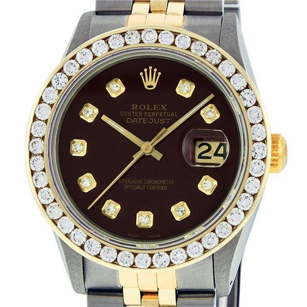 Rolex Mens 2 Tone Maroon VS 3 ctw Channel Set Diamond Datejust Wristwatch