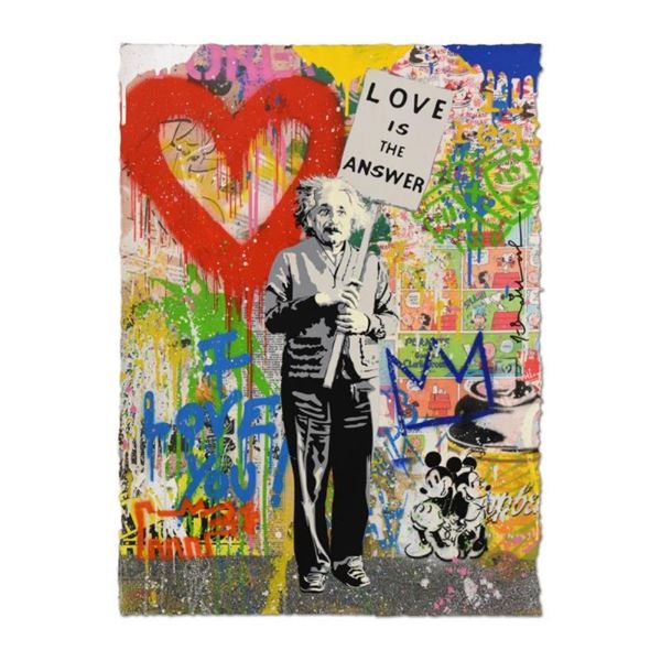 """Mr. Brainwash, """"Einstein"""" One-of-a-Kind Mixed Media, Hand Signed Inverso with Th"""
