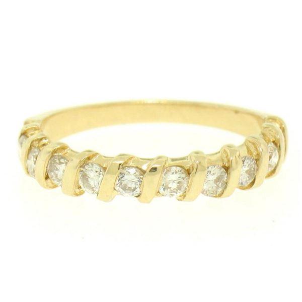 14k Yellow Gold .60 ctw G/H VS2 Bar Set Round Brilliant Diamond Band Ring