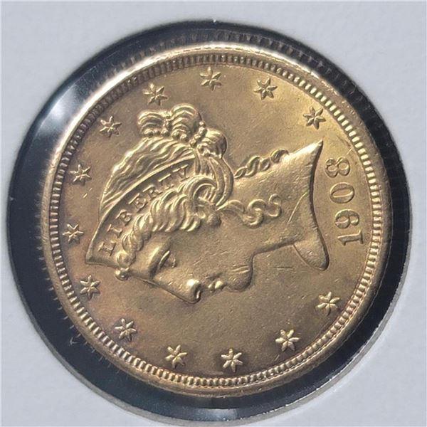 1908 $5 Liberty Head Half Eagle CU