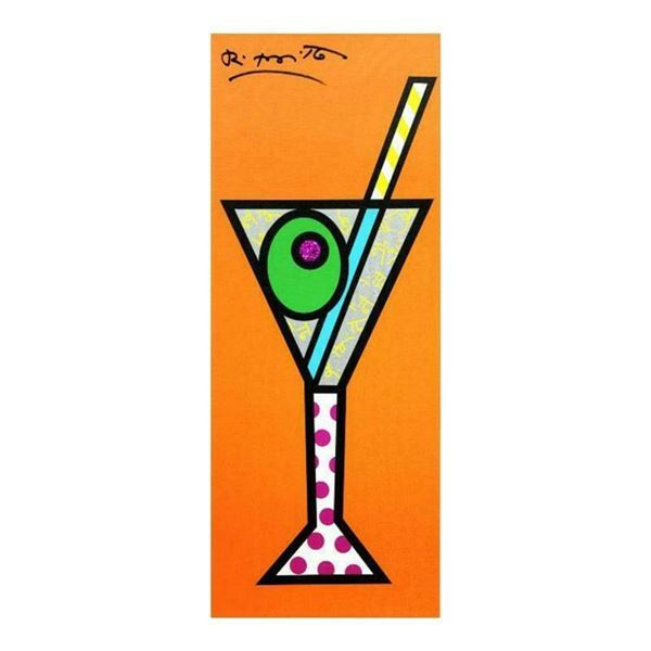 """Romero Britto """"Tangerine Martini"""" Hand Signed Limited Edition Giclee on Canvas;"""