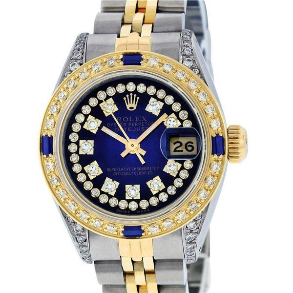Rolex Ladies Yellow Gold Stainless Steel Blue String Diamond Lugs Datejust Servi