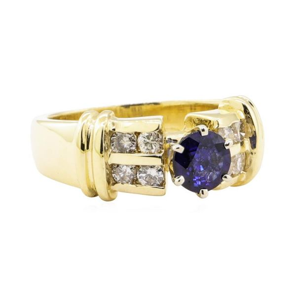 1.23 ctw Blue Sapphire And Diamond Ring - 14KT Yellow Gold