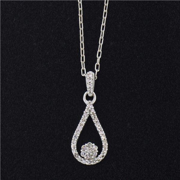 14K White Gold 0.12 ctw Single Cut Diamond Petite Open Tear Drop Pendant Necklac