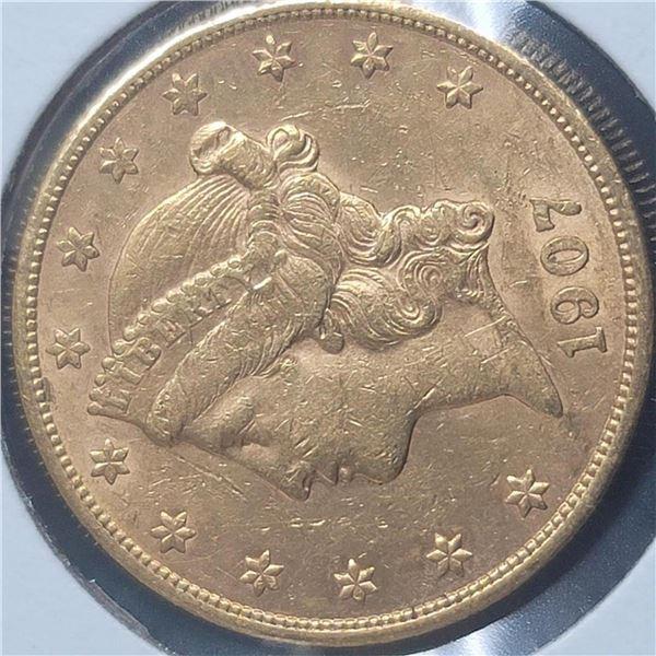 1907-S 20$  Liberty Head Double Eagle Gold Coin BU
