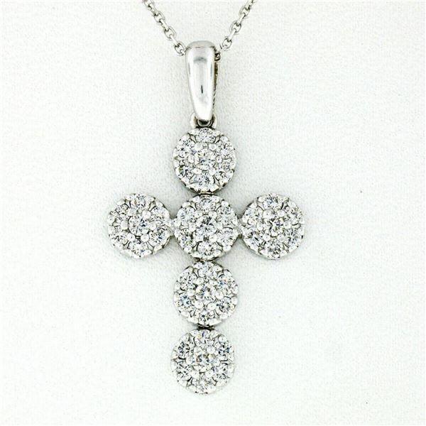 New 14kt White Gold 0.85 ctw Ideal Cut Diamond Multi Circle Cluster Cross Pendan