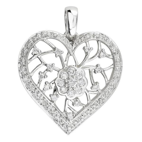 14k White Gold 0.52CTW Diamond Pendant, (I1-I2/H-I)