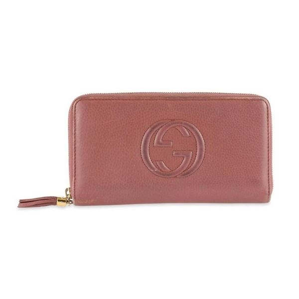 Gucci Pink Soho Zip Around Continental Wallet