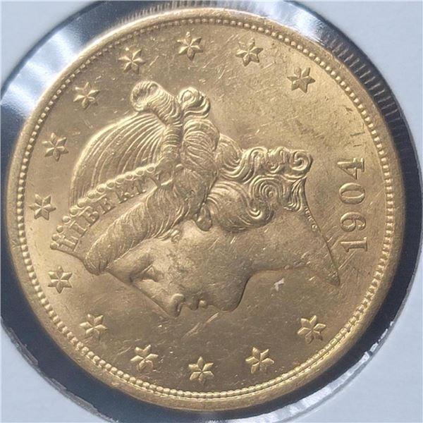 1904 20$  Liberty Head Double Eagle Gold Coin BU