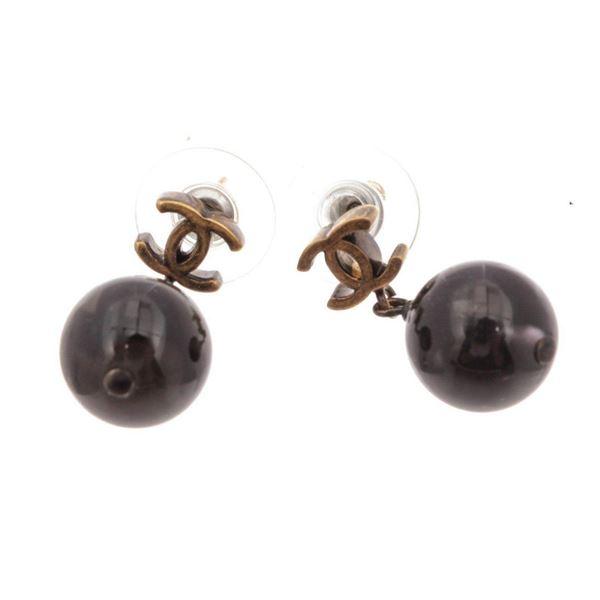 Chanel Black CC Earrings