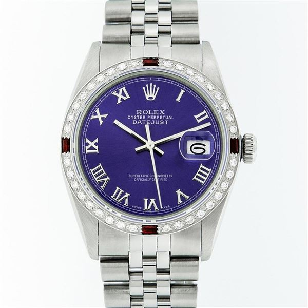 Rolex Mens Stainless Steel Purple Roman Diamond & Ruby Datejust Wristwatch Oyste