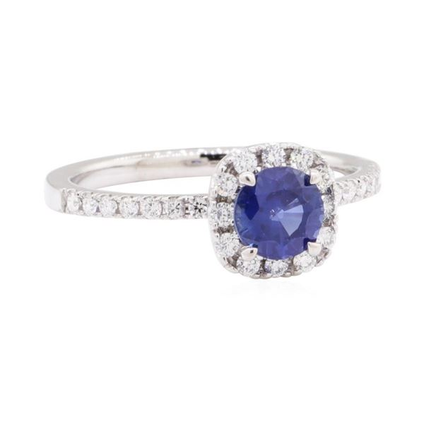 0.77 ctw Sapphire and Diamond Ring - 14KT White Gold