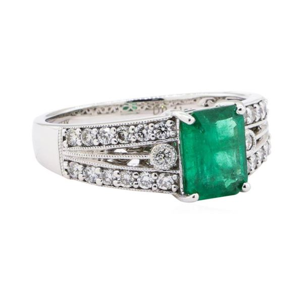 1.31 ctw Emerald and Diamond Ring - 14KT White Gold