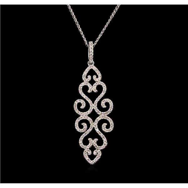 0.66 ctw Diamond Pendant With Chain - 14KT White Gold