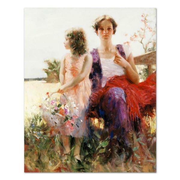 "Pino (1939-2010), ""Flower Basket Revisited"" Artist Embellished Limited Edition o"