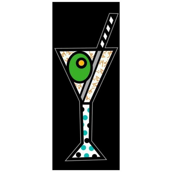 """Romero Britto """"Black Martini"""" Hand Signed Limited Edition Giclee on Canvas; Auth"""