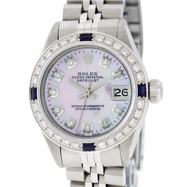 Rolex Ladies Stainless Steel Pink MOP Diamond & Sapphire 26MM Datejust